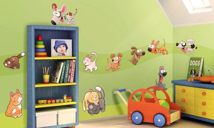 Stickers murali bambini cameretta gattini e cagnolini - Decorazioni murali camerette bambini ...